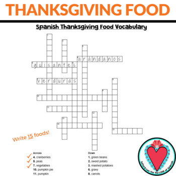 Spanish Thanksgiving El Dia de Accion de Gracias Crossword
