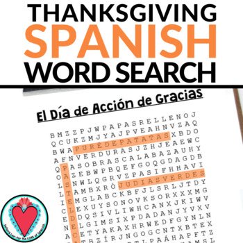 Spanish Thanksgiving Food Vocabulary Word Search