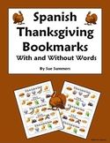 Spanish Thanksgiving Foods Bookmarks With and Without Vocabulary Words