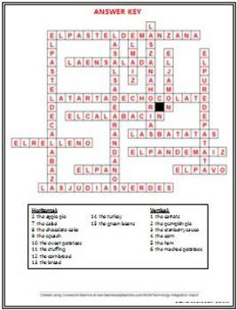 Spanish - Thanksgiving Foods Crossword