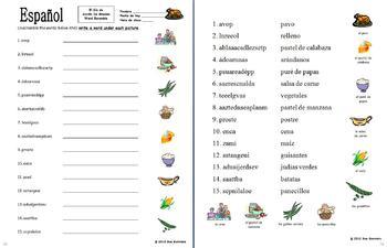 Spanish Thanksgiving Foods Scrambled Words Worksheet 2 Versions