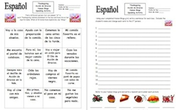 Spanish Thanksgiving Human Bingo Game Speaking Activity