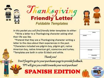 spanish thanksgiving letter writing