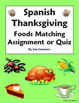Spanish Thanksgiving Matching and Image IDs Worksheet or Quiz
