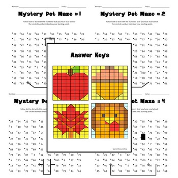 Spanish Thanksgiving Mystery Dot Mazes