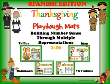 Spanish Thanksgiving Number Sense Playdough Mats Bundle