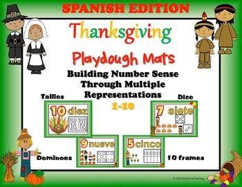 Spanish Thanksgiving Number Sense Playdough Mats Bundle