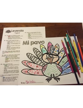 Spanish Thanksgiving Turkey Glyph - Read and Color - Beginning Level