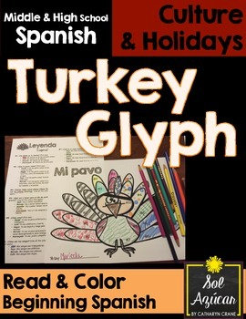 Spanish Thanksgiving Turkey Glyph - Read and Color - Begin