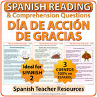 Spanish Thanksgiving Reading Passages and Worksheets