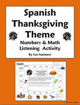 Spanish Thanksgiving Theme Numbers & Math Listening Activity