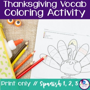 Spanish Thanksgiving Turkey Coloring Activities