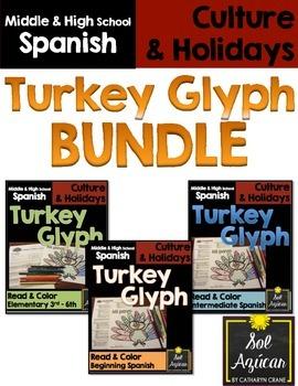Spanish Thanksgiving Turkey Glyph - BUNDLE