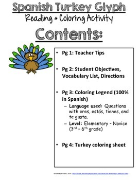 Spanish Thanksgiving Turkey Glyph - Upper Elementary - Novice Spanish