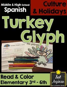 Spanish Thanksgiving Turkey Glyph - Upper Elementary - Nov