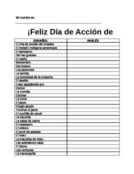 Spanish Thanksgiving Vocabulary