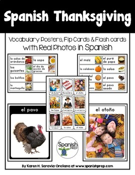 Spanish Thanksgiving Vocabulary Posters & Flashcards with Real Photos