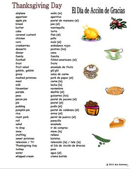 Spanish Thanksgiving Vocabulary Reference - English to Spanish 41 Words