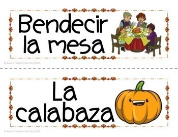 Spanish Thanksgiving Vocabulary Word Wall