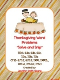 Spanish Thanksgiving Word Problems- Solve and Snip®
