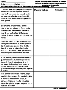Thanksgiving Math Activity | Spanish Word Problems | Solve and Snip®