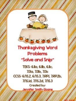 Spanish Thanksgiving Word Problems- Solve and Snip- Common