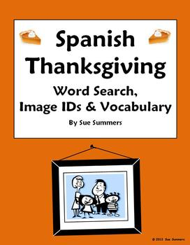 Spanish Thanksgiving Word Search, IDs and Vocabulary Reference