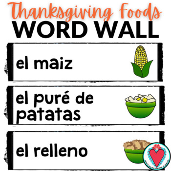 Spanish Thanksgiving Word Wall - El Dia de Accion de Gracias