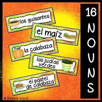 Spanish Thanksgiving Word Wall FREEBIE