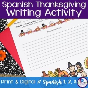 Spanish Thanksgiving Writing Activity