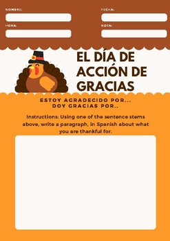 Spanish Thanksgiving Writing Activity