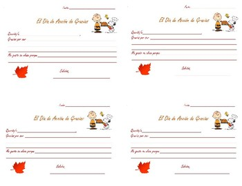 Spanish Thanksgiving card-write a short card to a teacher using adjectives