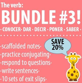 Spanish - The verb: BUNDLE #3 - Conocer, Dar, Decir, Poner, Saber