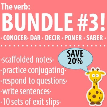 Spanish - The verb: BUNDLE #3 - Conocer, Dar, Decir, Poner, Saber