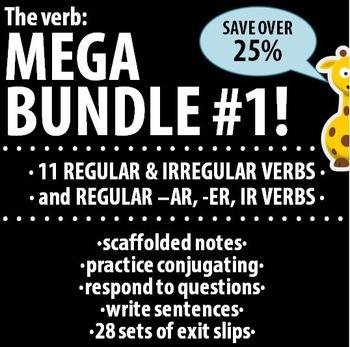 Spanish - The verb: MEGA BUNDLE #1 - 11 verbs & Regular -AR, -ER, -IR verbs