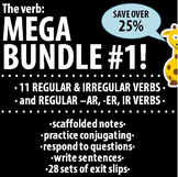 Spanish - The verb: MEGA BUNDLE #1 - 11 verbs & Regular -AR, -ER, -IR verbs