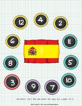Roll and Cover Game With a Spanish Theme