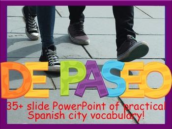 Spanish Practical City Vocabulary PowerPoint - La Ciudad y de Paseo