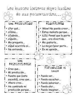 Spanish Thinking Tracks Sentence Starters