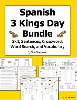 Spanish Three Kings Day Bundle - Puzzles, Sentences, and Vocabulary