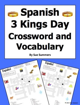 Spanish Three Kings Day Crossword Puzzle Worksheet and Vocabulary