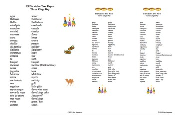 Spanish Three Kings Day Word Search Puzzle Worksheet and Vocabulary