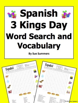 Spanish Three Kings Day Word Search Puzzle Worksheet and V