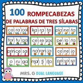 Spanish Three-Syllable Words Puzzles Palabras de tres sílabas 100 Rompecabezas