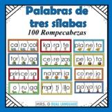 Spanish Three-Syllable Words Puzzles Palabras de tres sílabas 100 Rompecabezas