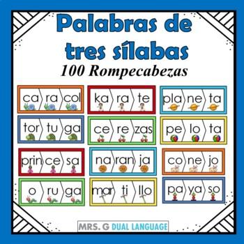 Spanish Three-Syllable Words Puzzles Palabras de tres síla