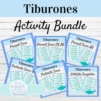 Spanish Conjugation Game BUNDLE! 12 Tiburones Game Sets