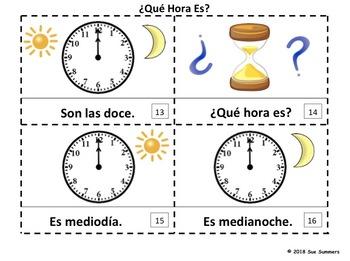 Spanish Time 2 Emergent Reader Booklets ¿Qué Hora Es? - El Tiempo