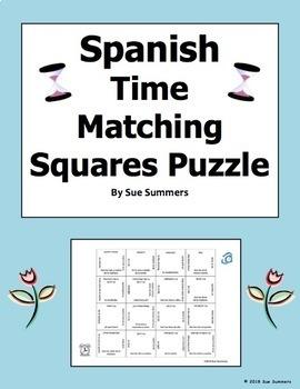 Spanish Time 4 x 4 Matching Squares Puzzle 2 Versions El Tiempo