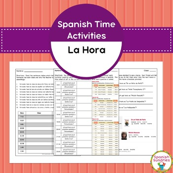 Spanish Time (La Hora) Activities